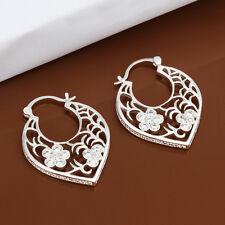 925 Sterling Silver Filled Filigree White Topaz Party Pierced Hoop Stud Earrings