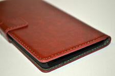 Brown Genuine Leather Flip Wallet Case Cover Stand For Sony Xperia Z2