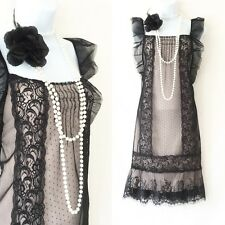 OASIS 1920's Charleston Frilled Sheer Lace Gatsby Flapper Dress L 12/14