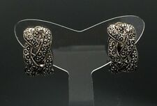 CLIP-ON EARRINGS Black Vintage Silver Pewter Non-pierced Wedding Braid Grey