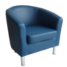 MODERN LEATHER TUB CHAIR ARMCHAIR DINING ROOM OFFICE RECEPTION - ROYAL BLUE