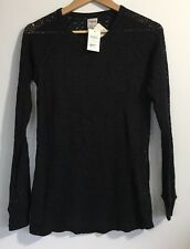 NEW ZARA TRAFALUC BLACK BAROQUE LACE STYLE CROCHET TOP JUMPER MEDIUM C114