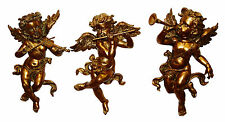 Set of 3 Large Antique Gold Effect Cherub Wall Figures