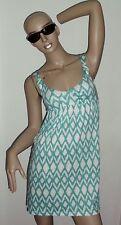 Roxy Sommer Kleid Gr. XS grün-weiß 82 cm, Baumwollmischung, Mini