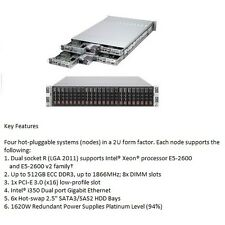 "Supermicro Fat Twin2 2U 4 Servers with 64 E5-2600 Cores / 256Gb RAM 2.5"" drives"