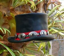 BLACK LEATHER WILD WEST MENS TOP HAT WITH CONCHOS FORMAL / FANCY DRESS UP