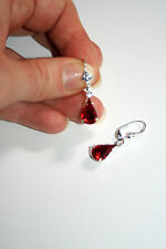 Vintage Czech Siam red crystal pear dangle silver plated earrings