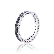 Authentic 925Sterling Silver Black Cubic Zirconia Stacker Dress Ring Band Size 8