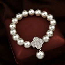 GORGEOUS 18K WHITE GOLD PLATED & GENUINE SWAROVSKI CRYSTAL AND PEARL BRACELET