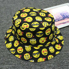 Funny Emoji Print Women Men Cotton Bucket Sun Hat Fishing Camping Beach Hats