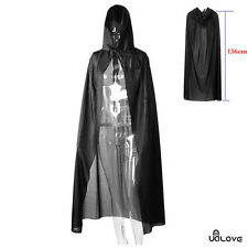 Halloween Fancy Dress Deluxe Black Hooded Cloak Wedding Wicca Cape Long Vampire