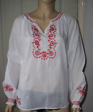 MONSOON White Ethnic Long Sleeve Top with Red Floral Embroidery Size: 14