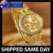 MENS SNOOP DOG SWAROVSKI CRYSTAL STUDDED GOLD DRESS WATCH Fashion Military D3