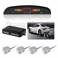 Silver Car Rear Reverse Parking 4 Sensors Reversing Buzzer Alarm Kit LED Display