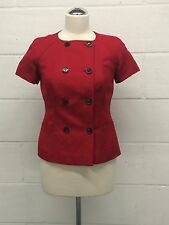 Calvin Klein red women's linen/rayon jacket short sleeves lined size 2 UK10