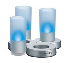 3 x FAKE BLUE LED GLASS CANDLE LIGHTS MOOD NIGHT LIGHTING PARTY SHELF IDEAL GIFT