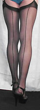 3 Pairs Large Black Gipsy UltraSheer 10Denier Cuban heel Seamed  Stockings