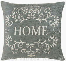 Home 18 inch Chenille Cushion Cover Grey & Cream Vintage Style