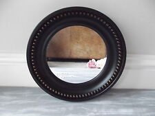 NEW Vintage Style Black Gold Small ROUND WALL MIRROR French Modern Antique  25cm