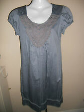 Atmosphere - Dark Grey Lace Front Cap Sleeved Mini Dress Size 8