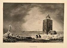 Neuwerk Insel Helgoländerbucht Elbmündung alte Ansicht Orig. Stahlstich um 1850