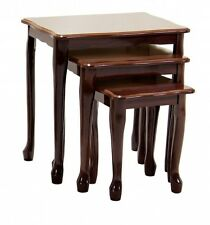 Robin Mahogany Chunky Gloss Solid Nest of 3 Tables Living Room Furniture