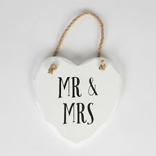 Sass and Belle Mr and Mrs Heart White Wooden Plaque - Hanging plaque