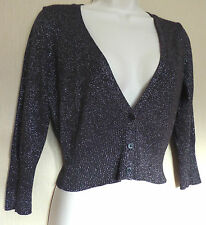 Oasis UK10 EU38 US6 brown and silver sparkly cropped cardigan with 3/4 sleeves