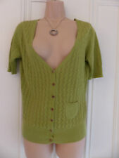 White Stuff size 10 olive green or khaki(?) thin knit, quite open cardigan