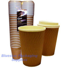 40 x 12oz Ripple Effect Insulated Premium Chinet Coffee Cups and Lids