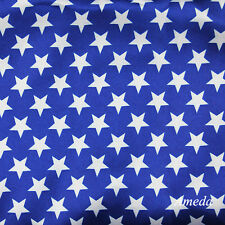 "1 Yard Pictoria 4th July Royal Blue White Star Fabric Satin 48"" Wide"