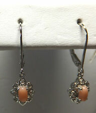 Brand New Sterling Silver Genuine Pink Coral & Diamond Leverback Dangle Earrings