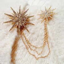 Dazzling Double Star Burst Rhinestone chain Brooch in all Gold Tone Alloy