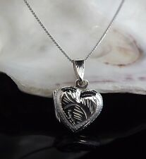 Sterling Silver 925 Antique Style Heart Locket Pendant Necklace Valentine Gift