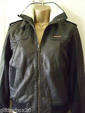 NEW £250 SUPERDRY BLACK LEATHER FAUX FUR LINED UNION BOMBER JACKET, SIZE 10