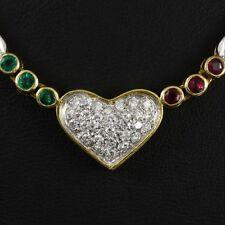 Brillant Smaragd Rubin Herzcollier ca. 1,24 ct.   6,0g 750/- Gelbgold