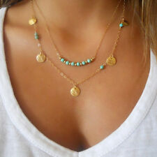 Multi layers turquoise disc coins beads Pendant Necklace Jewelry Fashion