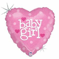 Party Decorations Baby Shower Pink Heart Holographic Foil Balloon