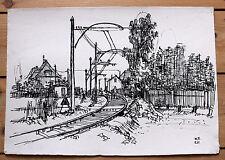 Tusche-Zeichnung von Wolfgang Franke, ohne Titel, signiert, 1961