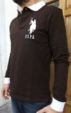 "MEN`S NEW US POLO ASSN LONG SLEEVE POLO SHIRT MEDIUM M 40"" BROWN SLIM FIT TOP"