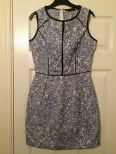 NEW LOOK Blue And White Floral Textured Short Wedding Party Dress Size 8