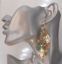 Fab Lightweight Gold Dangly Hand of Fatima Drop Earrings - Clip-on By Request
