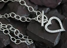 """Gorgeous Modern Contemporary Heart Design Sterling Solid Silver 16.50"""" Necklace"""
