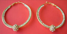 "Crystals Pave, Gold HOOP EARRINGS with Moving Ball 50 mm / 2"" Diameter"
