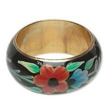 Hand Painted Brass, Resin and Steel Flower Design Bangle, 1.25 Inch Wide
