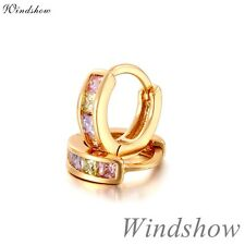 Kids Girl Mini Huggie Colorful Sapphire Fashion 18K Yellow Gold GF Hoop Earrings