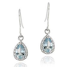 925 Silver 3 Carat Blue Topaz & Diamond Dangle Earrings