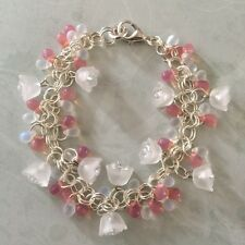 Frosted Lucite Flower And Pink Czech Glass Handmade Bracelet Costume Jewellery