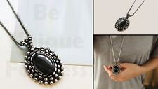 Smart Trendy Vintage Oval Black Stone Long Sweater Necklace