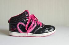 Pineapple Dance'79' - girl's black & pink sparkly lace up trainers UK 3